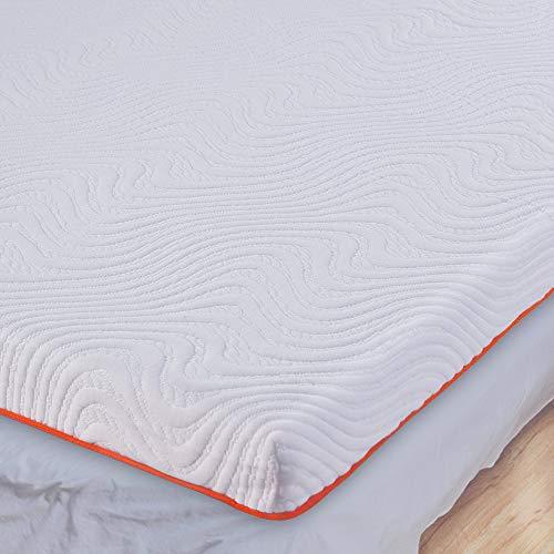 UOOGOU Topper Viscoelástico, 7 cm 2 en 1 Topper Colchón de Espuma con Alivio de la Presión, Sobrecolchón Hipoalergénico Extraíble y Lavable en Lavadora (160 x 200 x 7)