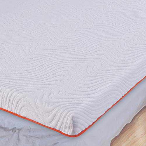UOOGOU Topper 160 x 200, 7 cm Gel-Schaum Viskoelastische Matratzenauflage 2 in 1 Memory Foam Topper, Matratzentopper für Bett Schlafsofa Boxspringbett, Matratzenschoner Abnehmbar Waschbar