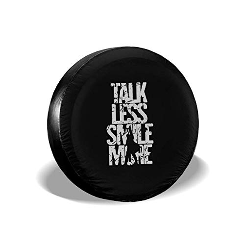 """OIVLA Funda de Neumático 14\"""" 15\"""" 16\"""" 17\"""" Universal Spare Tire Tyre Cover Wheel Covers for All Cars Talk Less Smile More"""