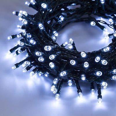 PREQU' Serie Luci di Natale 180-300-480-720 LED EST./INT. IP44 Catena Alta Luminosità (Luce Fredda - Filo Verde, 720 LED)