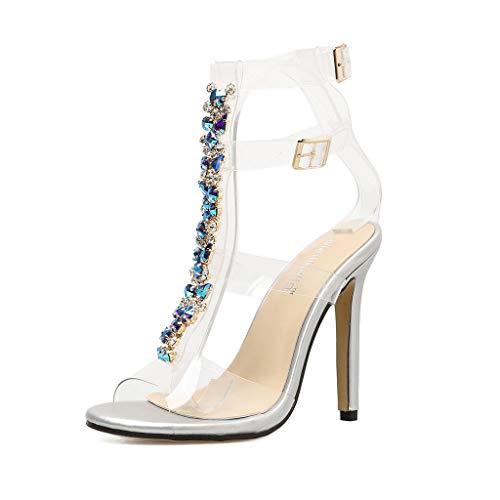 iYmitz High Heel Stiletto Schuhe Sommer Frauen Hochhackige Sandalen Böhmen Gladiator Diamanten Hochzeit Brautschuhe Mode für Damen(Silber,EU-39/CN-40)