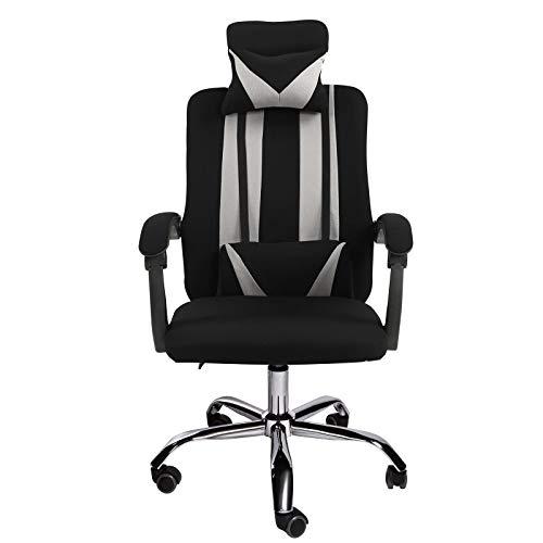 Trisens Schreibtischstuhl Büro Home-Office Stuhl Gamingstuhl Design Chefsessel Stoff, Farbe:Schwarz, Modell:ohne Fußstütze