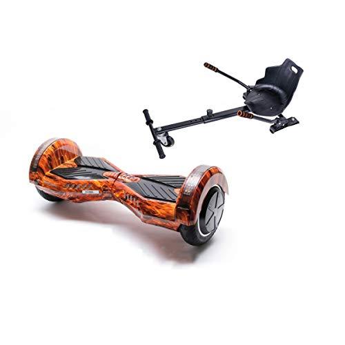 Smart Balance Hoverboard Transformers Flame con Hoverkart, Gyropod 6.5 pulgadas, con altavoz Bluetooth, luces LED, motor 700 W para niños y adultos