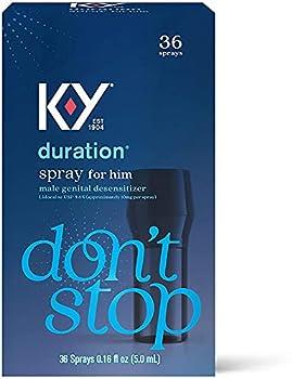 K-Y Duration Male Genital Desensitizer Spray to Last Longer 36 Sprays/0.16 fl oz Made with delay lube for Men 2 Pack