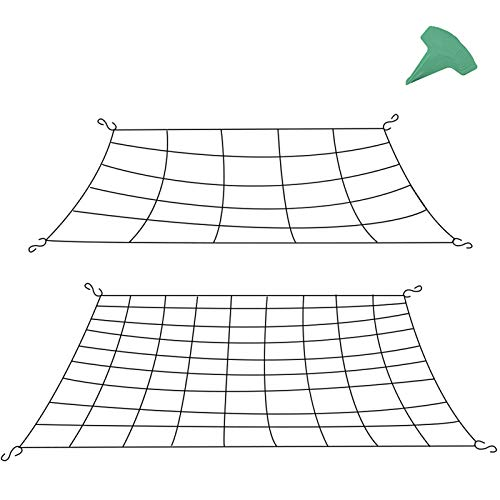 GROWNEER 2 Packs Flexible Net Trellis for Grow Tents Fits 25x25 Feet 3x3 Feet and More Size with 8 Steel Hooks and 15 Pcs Plant Labels 25 and 81 Growing Spaces