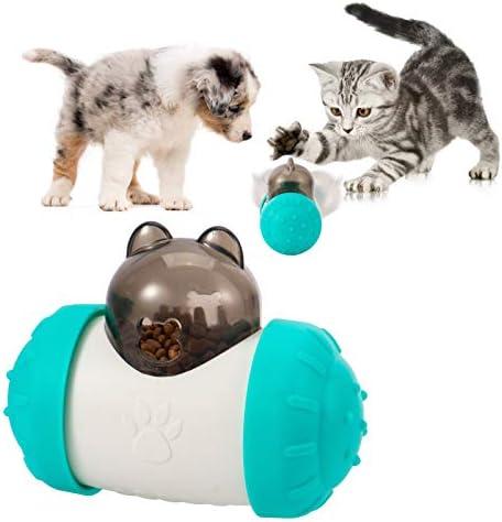 Blue White Dog IQ Treat Ball Self Balance Tumbler Design Slow Feeder Ball Food Treat Dispensing product image