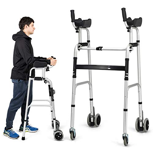 Goplus Standard Walker, FDA Certification, Foldable Rolling Walker Equipped with Arm Rest and Wheels, Height Adjustable Elderly Walking Mobility Aid for Seniors