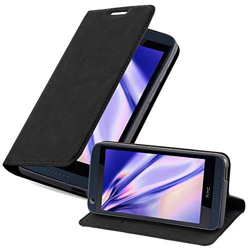 Cadorabo Hülle für HTC Desire 626G - Hülle in Nacht SCHWARZ – Handyhülle mit Magnetverschluss, Standfunktion & Kartenfach - Hülle Cover Schutzhülle Etui Tasche Book Klapp Style