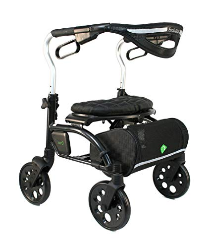 Evolution Xpresso Zero Lightweight Medical Walker Rollator with Seat Large Wheels Brakes Backrest Basket for Seniors Indoor Outdoor use Carbon Black Mini