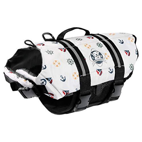 Paws Aboard Dog Life Jacket, Fashionable Dog Life Vest for Swimming and Boating - Nautical Dog