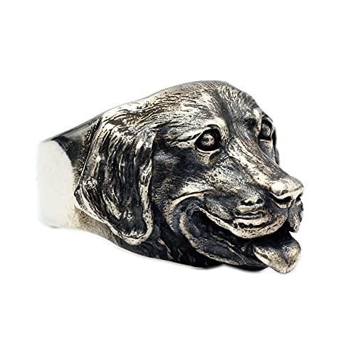 YABEME Anillo de Perro de Plata de Ley 925 para Hombre, Joyería de Encanto de Dedo de Moda con Personalidad Vintage, Regalos para Amantes de Las Mascotas,Sheepdog,10