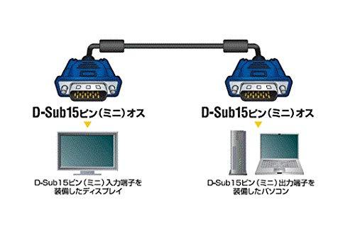 『エレコム ディスプレイケーブル D-sub15ピン VGA-VGA スリム 0.7m ブラック CAC-07BK』の1枚目の画像