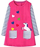 Fiream Girl Dress Unicorn Long Sleeves Appliques Striped Kids Dresses(JP202,6-7Y)