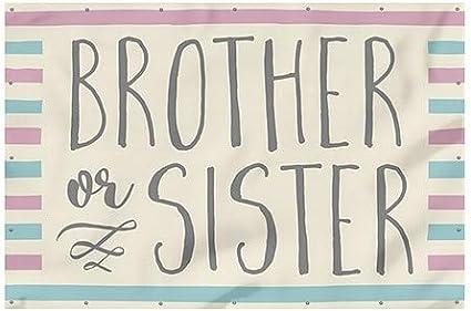 Brother or Sister Wind-Resistant Outdoor Mesh Vinyl Banner Inner CircleGender Reveal 6x4 CGSignLab