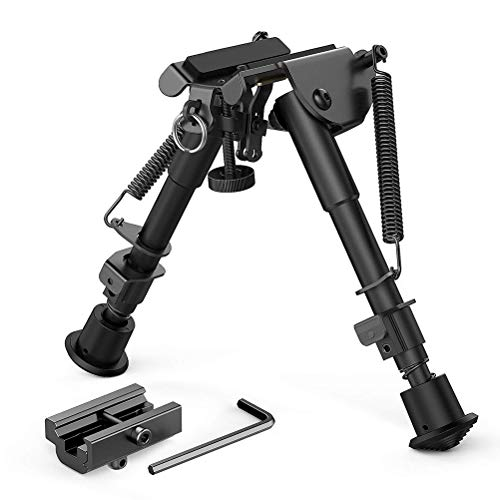 SHARRA Verstellbares Zweibein, Kippbar Schwenkbar Zweibein mit Drehgelenk Neigbar Halterung für Jagd Gewehr 15,2–22,5 cm