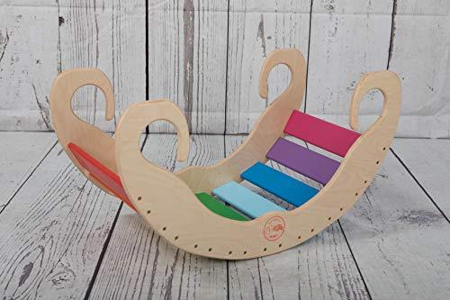 ROCKKIDS Bogenwippe aus Holz - handgefertigter Kletterbogen für Babys und Kinder, waldorf montessori Pikler, Regenbogen Geschenk für Babys ab 6 Monaten wippe