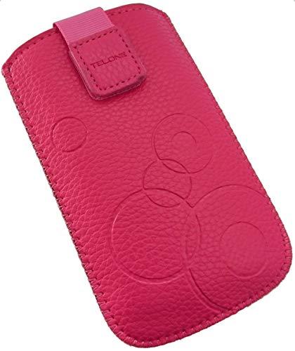 Handyschale24 Slim Hülle für Bea-Fon AL450 Handytasche Pink Rosa Schutzhülle Tasche Cover Etui mit Klettverschluss
