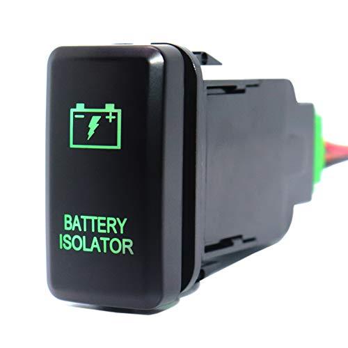 Qiche31 Interruptor de botón Aislador de la batería a estrenar con cable de conector para TOYOTA PRADO LANDCRUISER HILUX FJ CRUSER COMPECTOR DE ON-OFF 12VOLT 3AMP Automotor ( Color : Green LED )