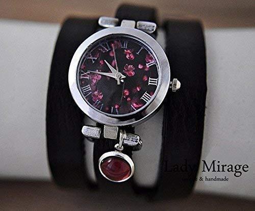 Armbanduhr mit traumhaften Kirschblüten, Amethyst und Leder-Wickelarmband Muttertag Geschenk für Sie