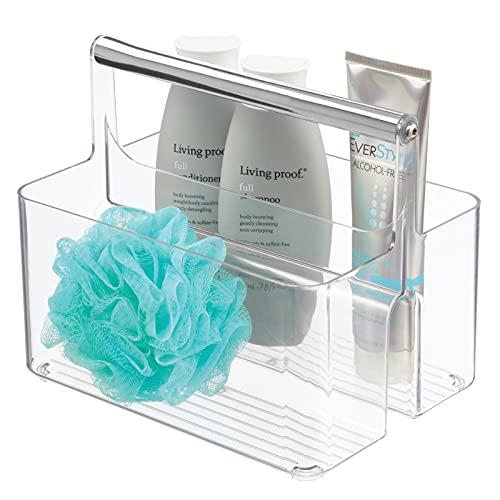 mDesign Badezimmer Aufbewahrungsbox – Korb mit Griff zur Kosmetikaufbewahrung – Bad Organizer mit Zwei Fächern – durchsichtig und silberfarben