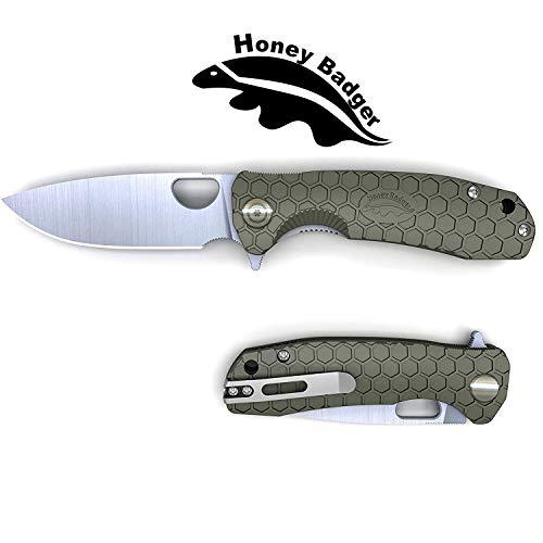 Honey Badger Flipper Knife Pocket Knife Liner Lock Folding Knife Tactical Hunting Fishing Camping Fruit Knife FRN Handle Deep Pocket Carry Clip Green Medium 296oz  41quot Closed  32quot Blade