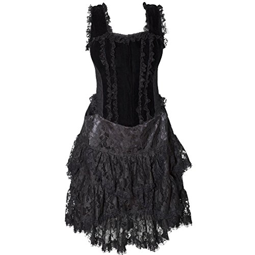 Burleska Korsett Mini Kleid - Sophia Samt Schwarz 36