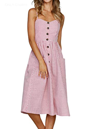 ONLY CHARM Damen Drucken Sommerkleid, Streifen Ärmelloses Rückenfrei Maxikleid Knöpfe Vintage Cocktailkleid Großformat, Rot,L