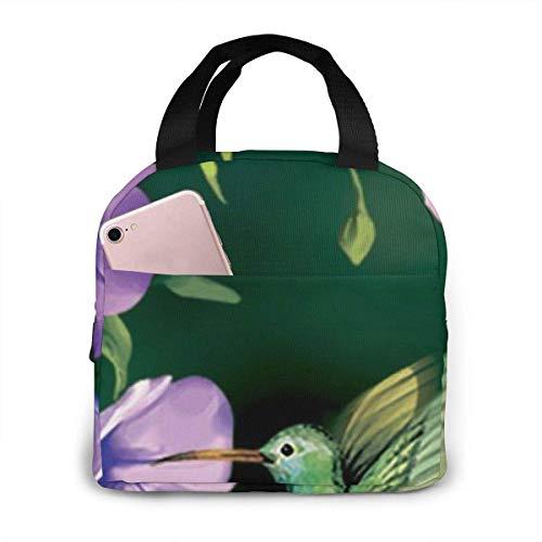 El verde del colibrí imprimió la fiambrera aislada para la capacidad de las mujeres, fiambrera reutilizable del bolso más fresco