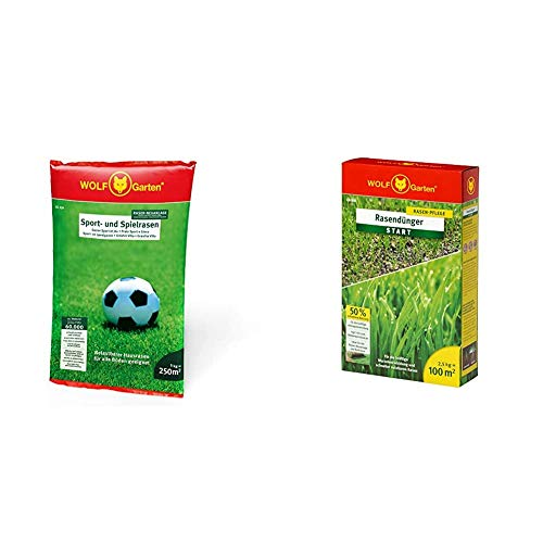 WOLF-Garten - Saatgut, LG 250 Sport- und Spielrasen für 250 m², 3825030 & Rasen-Starter-Dünger LH 100; 3833030