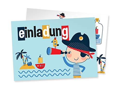 Friendly Fox Pirat Einladung, 12 Piratengeburtstag Einladungskarten für Kindergeburtstag Junge Mädchen, Einladung mit Umschlag, Kleiner Pirat auf See, Piraten-Party - Ahoy