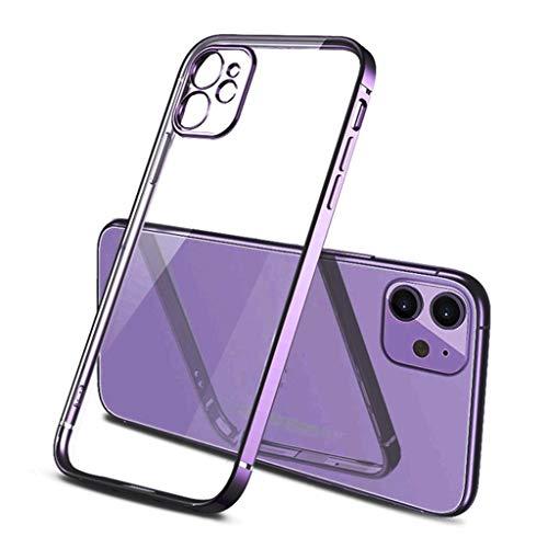 Funda telefónica Compatible con iPhone 12 Pro MAX Series Crystal Clear a Prueba de choques Delgado Delgado TPU no Amarillento TPU Funda Suave (Color : Purple, Size : 11)
