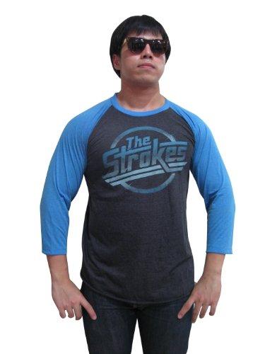 BUNNY BRAND Men's The Strokes Magna Logo Music Raglan T-Shirt Gray (X-Large)