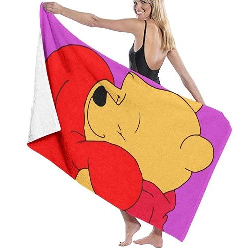 QWAS Winnie The Pooh - Toallas de playa de microfibra, tamaño grande, supersuaves, absorbentes, para niños y adultos (Winnie, 3,80 x 180 cm)
