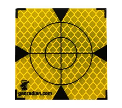 Marcas reflectoras autoadhesivas, 60 mm, 20 unidades, ideal para la vigilancia de edificios o pruebas de desviación en la construcción para todas las superficies lisas (60 mm, amarillo)