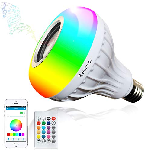 Reisener LED Bluetooth Speaker Light Bulb, RGB Wireless Smart Music E26 Bulbs with Cool White, Color Changing with Remote & APP Control for Party, Home, Bedroom Decorations