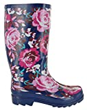 Womens Mudrocks Rubber Wellington Boots Floral 3/4 Flower Print Wellies UK 4-8 (Numeric_5) Blue