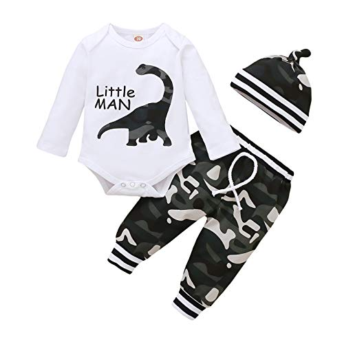 Baby Boy Clothes 0-3 Months Winter Newborn Boy Outfits Long Sleeve Dinosaur Onesie Camouflage Pants Camo Hunting Clothing Set
