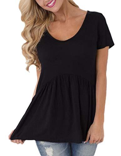 Desconocido GenericC Womens Summer Short Sleeve Loose T Shirt High Low Hem Babydoll Peplum Tops...
