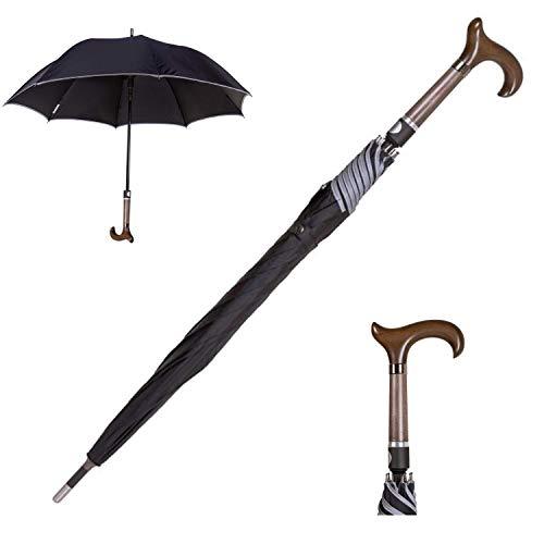 Sicherheitsschirm | Regenschirm zum Selbstschutz mit Gehstockgriff | Gehhilfe Stuetzschirm Senioren | 96cm lang | Selbstverteidigung | Sturm + Wind sicher | Mehr Sicherheit im Dunkeln