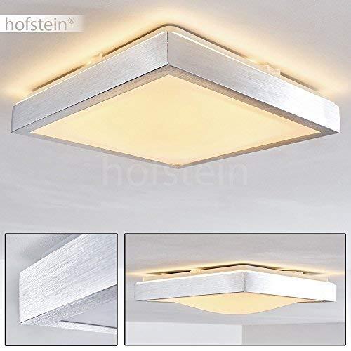 LED plafondlamp Wutach, vierkante plafondlamp van metaal in geborsteld aluminium, 1 x 12 Watt, 800 Lumen, lichtkleur 3000 Kelvin (warm wit), IP 44, ook geschikt voor de badkamer