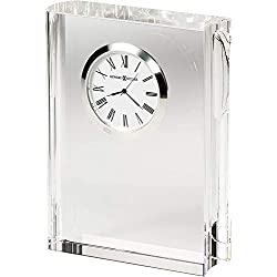 Howard Miller Scholastic Table Clock 645-782 – Modern Optical Glass Crystal Home Decor with Quartz Movement