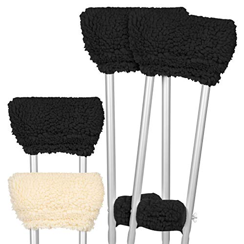 Vive Sheepskin Crutch Pads - Padding for Walking Arm Crutches - Universal Underarm Padded Forearm Handle Pillow Covers for Hand Grips - Soft Foam Armpit Bariatric Accessories for Adults, Kids (1 Pair)
