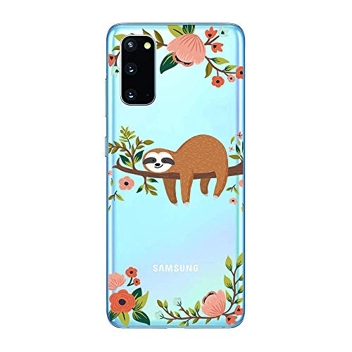 Samsung Galaxy S20/S11e Case,Blingy's New Fun Animal Style Transparent Clear Soft TPU Protective Rubber Case for Samsung Galaxy S20/S11e (Sleeping Sloth)