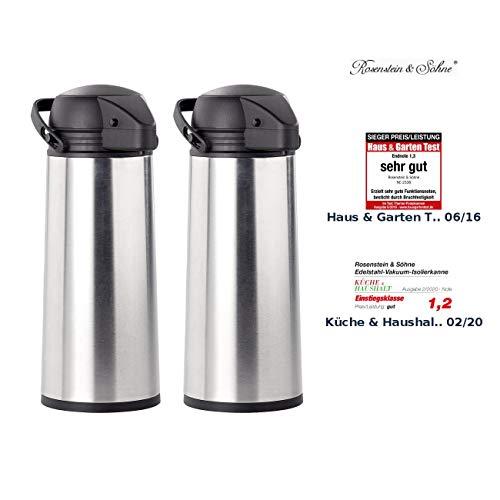 Rosenstein & Söhne Kaffeekanne: 2er Pack Edelstahl-Pump-Vakuum-Isolierkanne, 1,9 Liter (Thermo-Kanne)
