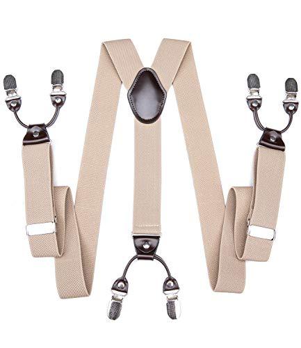 DiBanGu Heren Braces met Heavy Duty 6 Clips Y-vorm Elastische Broek Suspenders 3.5cm Wide Box Pakket