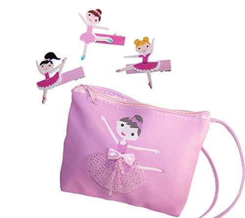 Meisjes kinderen roze ballerina portemonnee over body bag en pak van 3 ballerina haarclips gift set