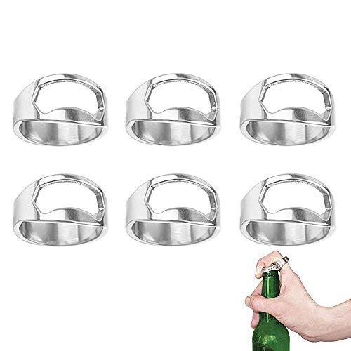 yyuezhi 6 Stück Flaschenöffner Ring Bieröffner Schlüsselanhänger Hochwertiger Ringöffner Silberner Flaschenöffner Ring Praktischer Ringöffner aus Edelstahl öffnet Flasche und Bier