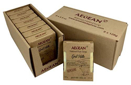 Aegean Goat Milk Soap Bar 100% Natural Soap w/Organic Ingredients, Moisturizing, Handmade, Body Soap, Face Soap,and Bath Soap 4.5 oz (8 Bars)