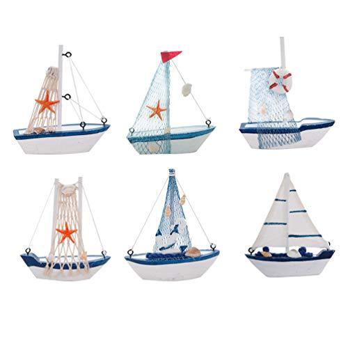 Healifty - Lote de 6 pegatinas en miniatura para barco de vela, madera, diseño de hada de jardín, decoración de bricolaje, paisaje, paisaje Bonsái, playa