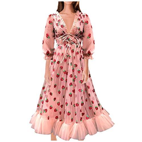 Mllkcao Damen Mode lässig Party Erdbeer Sweet Mesh Garn V-Ausschnitt Falten Langen Rock (Pink, M)